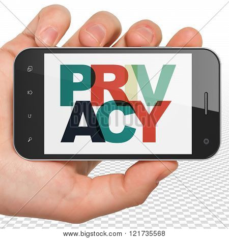 Security concept: Hand Holding Smartphone with Privacy on  display