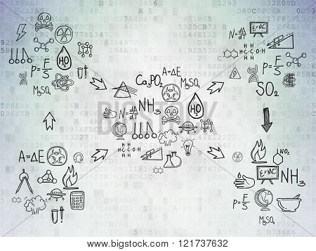 Digital background: Digital Paper with  Hand Drawn Science Icons
