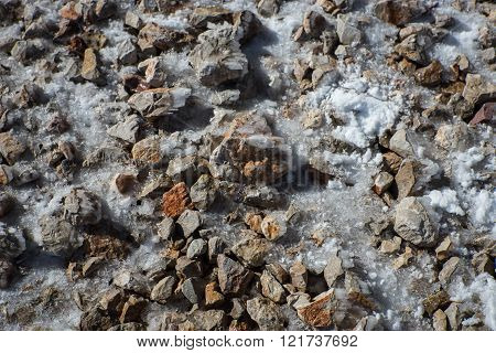 Snow build-up on metal parts on Mount Parnassos, central Greece