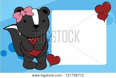 cute skunk girl valentine background card