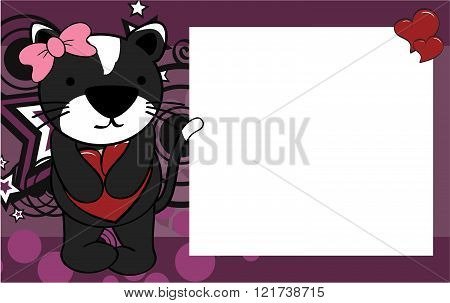 cute cat girl valentine background card