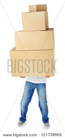 Man holding pile of carton boxes isolated on white background