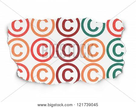 Law concept: Copyright icons on Torn Paper background