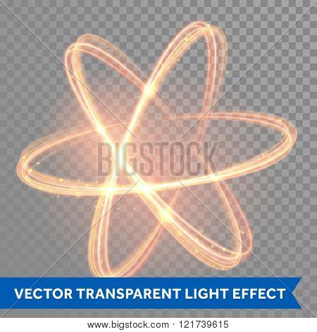 Vector magic glowing light swirl trail trace effect on transparent background. Bokeh glitter fire spark spiral wave line with flying sparkling flash lights. Atom form.