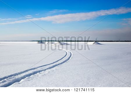 Cross-country Skiing Track In Beautiful Winter Lake On A Sunny Day With Blue Sky