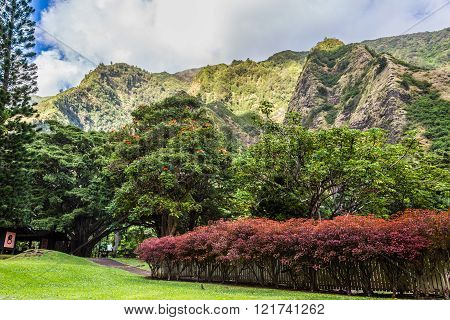 Kepaniwai Heritage Gardens. include traditional Hawaiian dwellings of ancient times as well as the traditional homes of the people who came from Portugal China New England the Philippines Japan and China. located in the lush Iao Valley