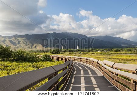 The Kealia Coastal Boardwalk is a beautiful tranquil walkway and bird sanctuary, beside Maalaea Bay, in the Kealia Pond National Wildlife Refuge, on the south edge of Maui's central valley