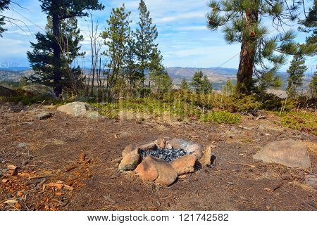 Camp Fire Rock Circle in the Mountains
