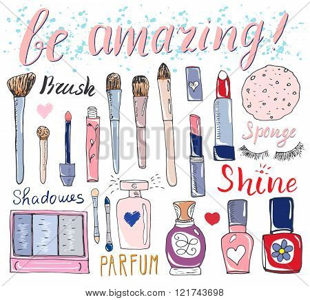 Hand Drawn Collection Of Make Up, Cosmetics And Beauty Items Set, With Hairbrushes, Dryers, Lipstick