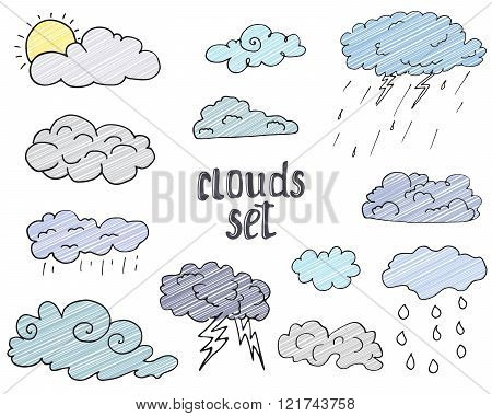 Hand Drawn Doodle Set Of Different Clouds, Sketch Collection  Vector Illustration Isolated On White
