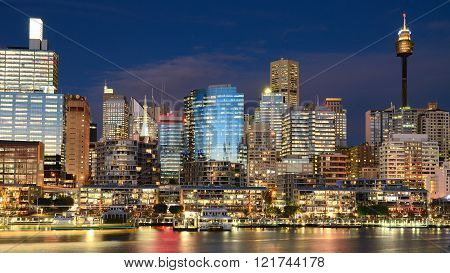 Beautiful Darling Harbour night scene in Sydney,Australia