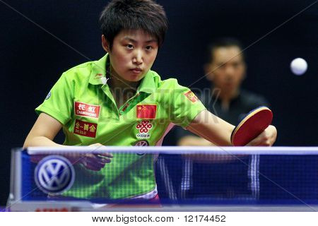 KUALA LUMPUR, MALAYSIA - SEPTEMBER 24: Guo Yue, China (ITTF World Rank 7) returns the ball in her match at the Volkswagen 2010 Women's World Cup in table tennis on September 24, 2010 in Kuala Lumpur.