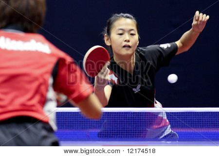 KUALA LUMPUR, MALAYSIA - SEPTEMBER 24: Zhang Mo, Canada (ITTF World Ranking #113) in action during the Volkswagen 2010 Women's World Cup in table tennis on September 24, 2010 in Kuala Lumpur.