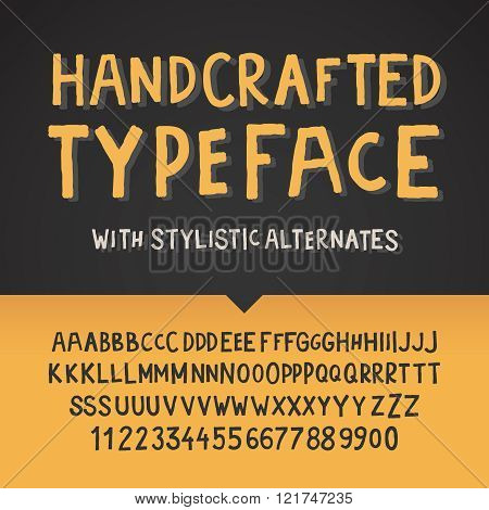 Handcrafted typeface, letters and numbers