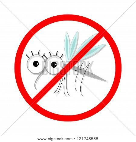 Mosquito. Red Stop Sign Icon. Cute Cartoon Funny Character. Insect Collection.  White Background. Is