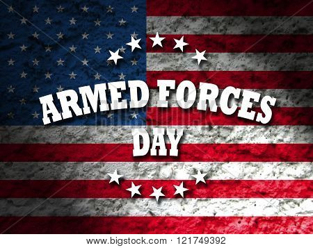 armed forces day card with american flag grunge style background