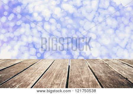 Wooden pier with blue blurred Bokeh, vintage tone