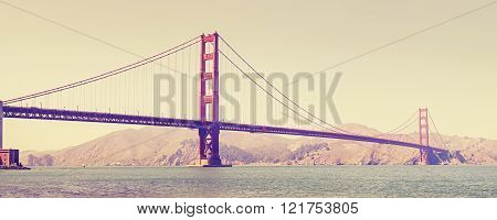 Old Film Retro Stylized Golden Gate Bridge In San Francisco, Usa