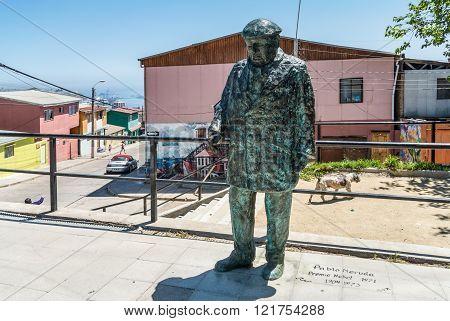 Valparaiso, Chile - December 3, 2012: Statue of the Nobel Prize Winner Pablo Neruda in Valparaiso, Chile , where he had one of his homes. Cerro Bellavista.