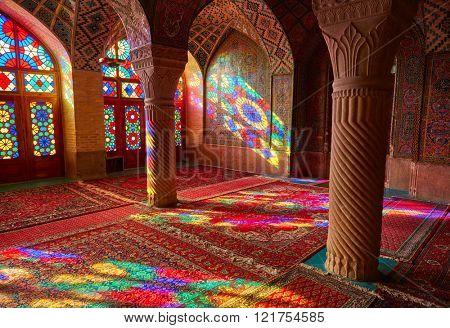SHIRAZ, IRAN - March 01, 2016: Nasir Al-Mulk Mosque in Shiraz, Iran. Pink Mosque
