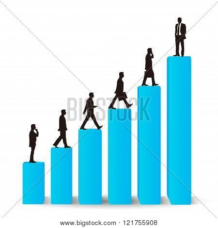 Businessman career promotion graph