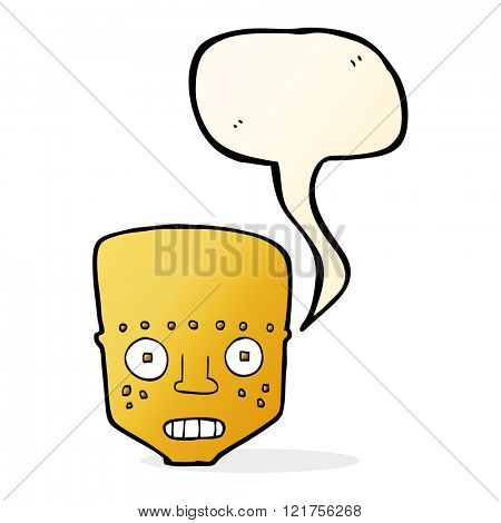 cartoon robot head with speech bubble