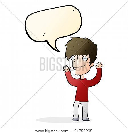 cartoon man waving arms with speech bubble