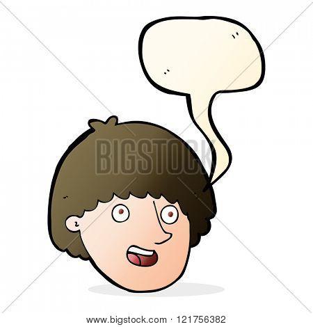 cartoon happy male face with speech bubble