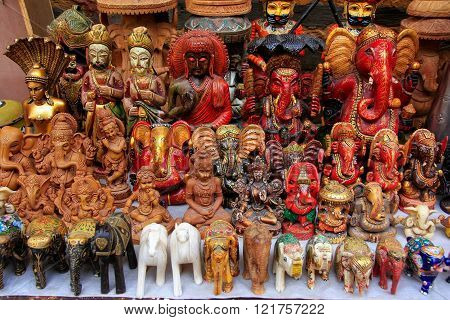 Jaisalmer, India - February 14: Display Of Colorful Statues At A Souvenir Shop On February 14, 2011