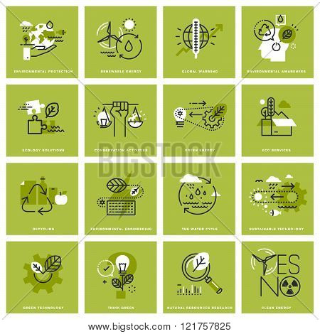 Set of thin line concept icons of environment, renewable energy, sustainable technology, recycling,