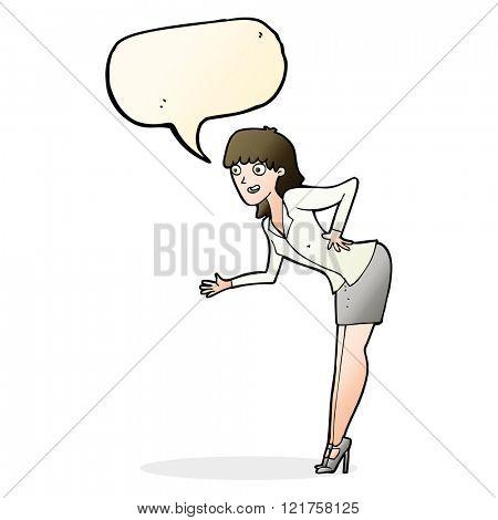cartoon businesswoman explaining with speech bubble