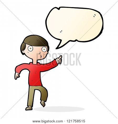 cartoon boy pointing with speech bubble