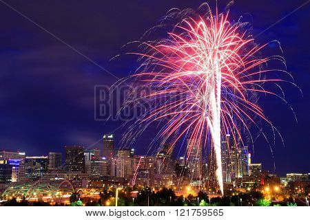 Denver, Usa - July, 4: Skyline Of Denver At Night With Fireworks On July 4, 2013  In Colorado, Usa.