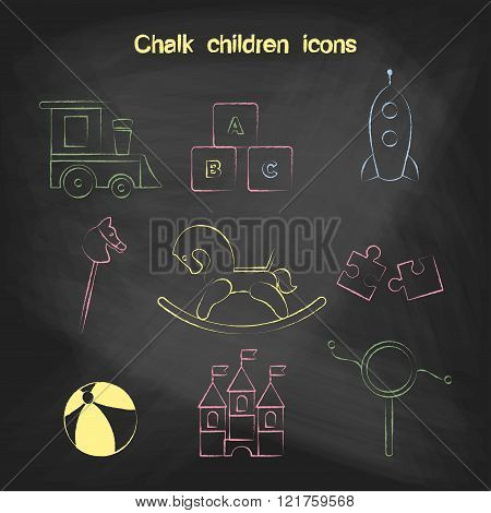 Set of linear icons. Children's toys collection of vector icons. Outline vector train, blocks, puzzl