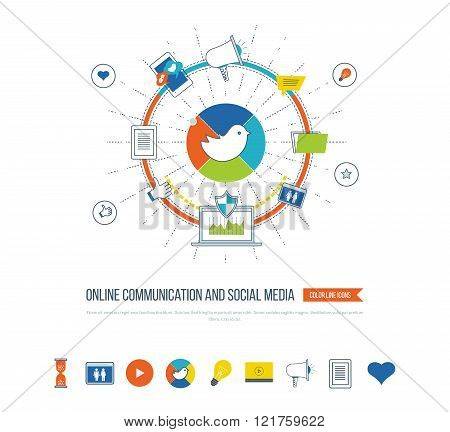 Online communication and social media concept. Investment management. Data protection.