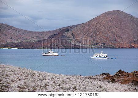 Galapagos, Ecuador - April 20: Yachts Anchored Between Bartolome And Santiago Islands On April 20, 2