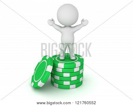 3D Character Standing With Arms Raised On Small Stack Of Poker Chips
