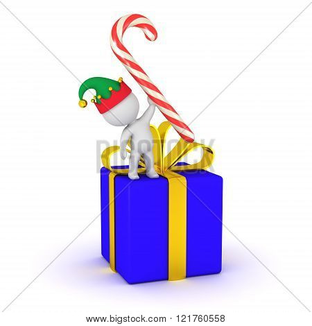 3D Character With Elf Hat, Gift, And Candy Cane