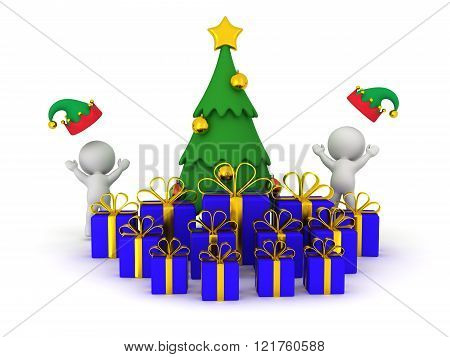 3D Christmas Tree With Gifts And 3D Characters Cheering