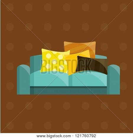 Vector illustration of sofa in flat icons set