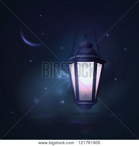 Arabic vector Lamp on dark abstract background for Ramadan Karee