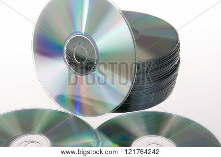 Cd Stack Isolated On A White Background