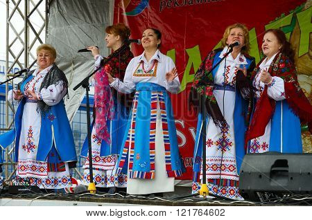 Speech Of Creative Choral Collective During Shrovetide Festivities Outdoors, Belarus