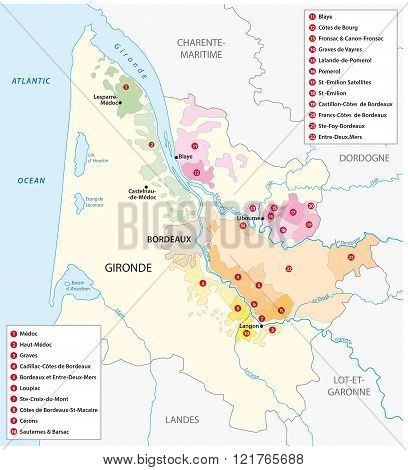 French Wine Region Bordeaux, map