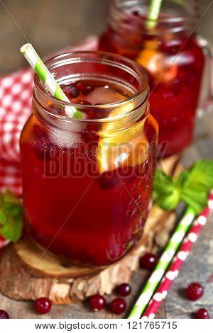 Iced Cranberry Tea With Orange.