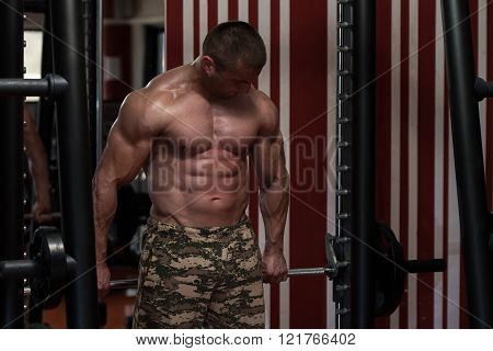 Male Doing Trapezius Exercises In The Gym