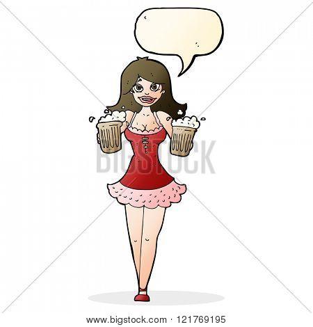 cartoon beer festival girl with speech bubble