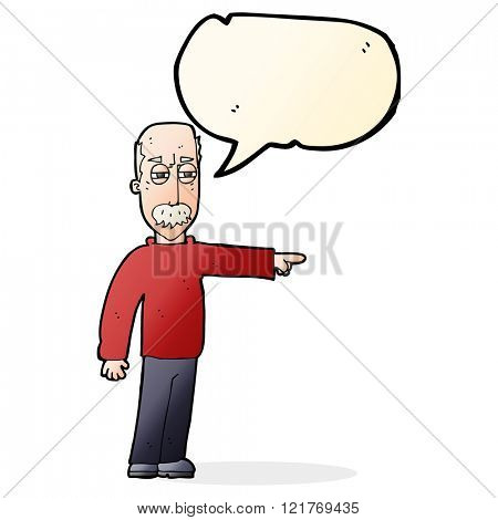 cartoon old man gesturing Get Out! with speech bubble