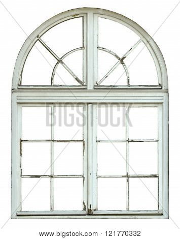 Old wooden window with arch