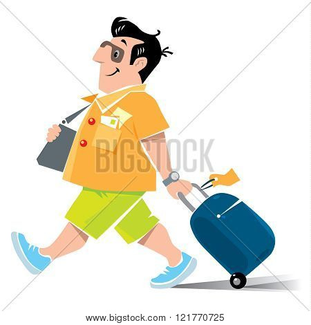 Funny Air Passenger With Suitcase